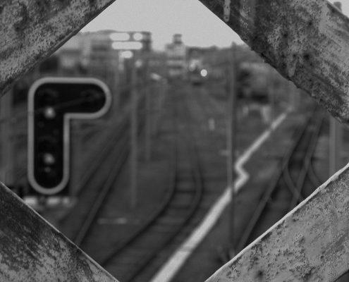 Vue de l'ancienne passerelle au-dessus de la gare de La Roche sur Yon
